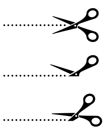 metal cutting: black cutting scissors silhouette on white background Illustration