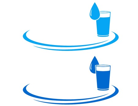 water glass icon with drop and decorative element Çizim