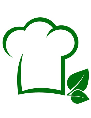 vegetarian icon with chef hat, green leaf and place for text Illustration
