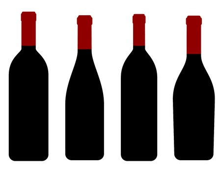 black wine bottles icons on white background Vector