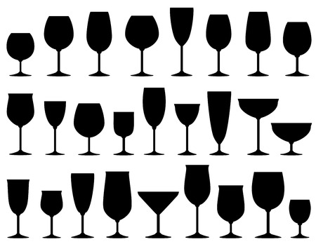 set of isolated wine and dessert glasses on white background Vector