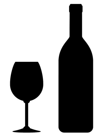 black wine bottle and glass silhouette on white background