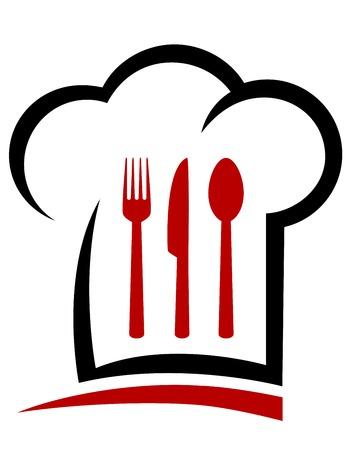 logo de comida: sombrero de chef y cubiertos con l�nea decorativa