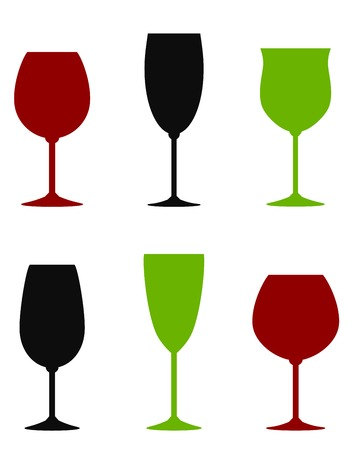 whisky bottle: colorful wine glasses set on white background