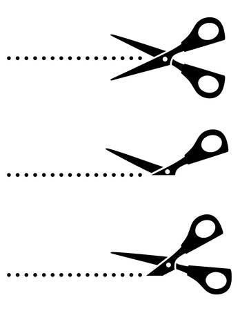 cut line: set of scissors with black points on white background