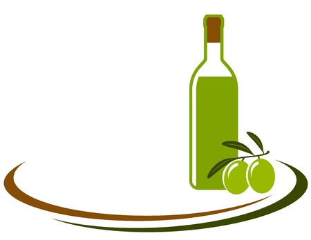 botella de aceite de oliva: fondo con la botella de aceite de oliva y l�nea decorativa Vectores