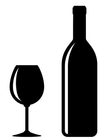 botella champagne: botella de vino negro con vidrio sobre fondo blanco