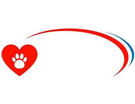 veterinarian background with red heart and paw Vector