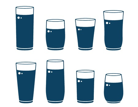 glassful: set of blue glossy water glass silhouettes