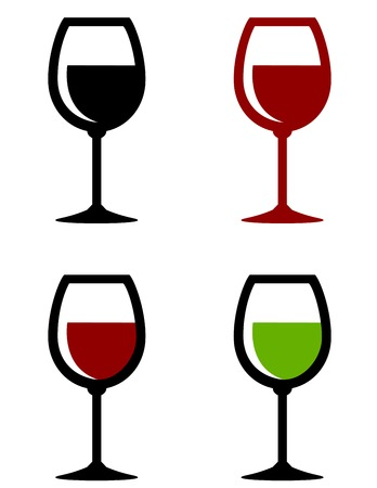colorful glossy wine glasses set on white background Illustration