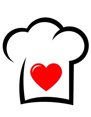 Zeichen mit schwarzer Kochmütze und roten Herzen Silhouette Standard-Bild - 36201097