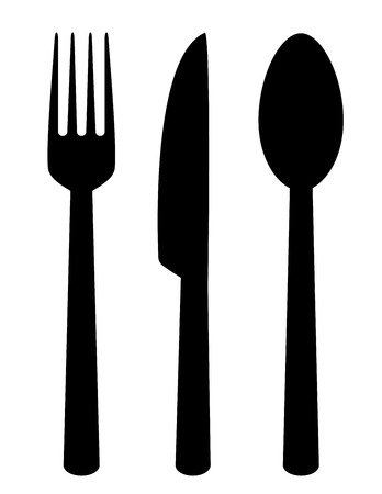 set of isolated black cutlery icons on white background Vector