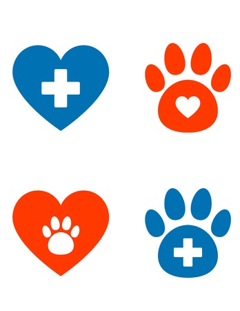 veterinarian icons set with paw, heart and cross Illustration