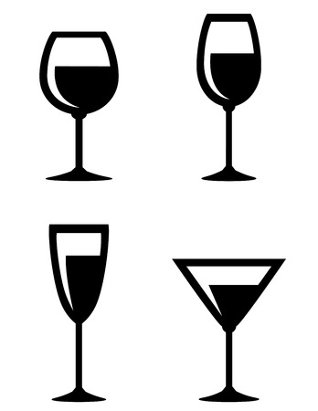 set of isolated wine glasses icons on white background Vector