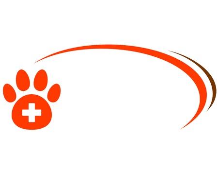 achtergrond met rode poot, dierenarts kruis en plaats voor tekst