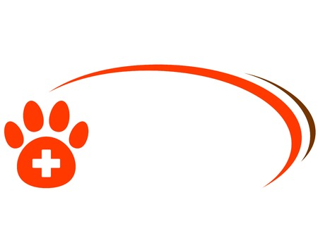 background with red paw, veterinarian cross and place for text Illustration