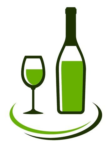 decorative lines: botella y vaso de vino blanco con l�neas decorativas