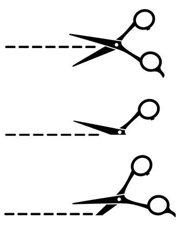 cut line: set of black cutting scissors and cut line