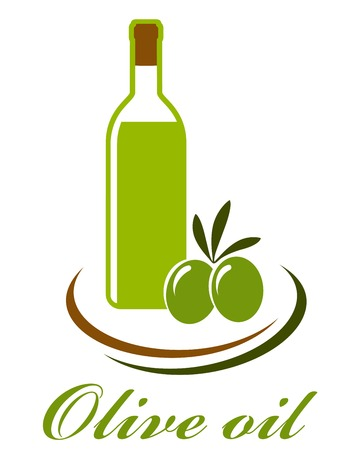 botella de aceite de oliva: oliva icono de la botella de aceite con aceitunas en el fondo blanco Vectores