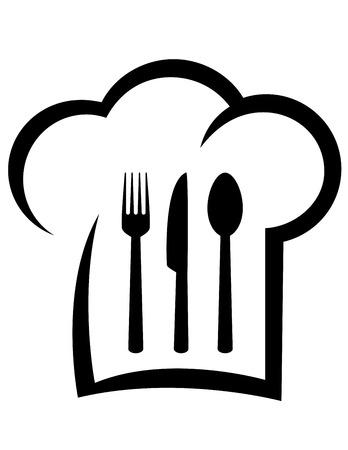 zwarte restaurant icoon met abstracte chef hoed, vork, lepel en mes