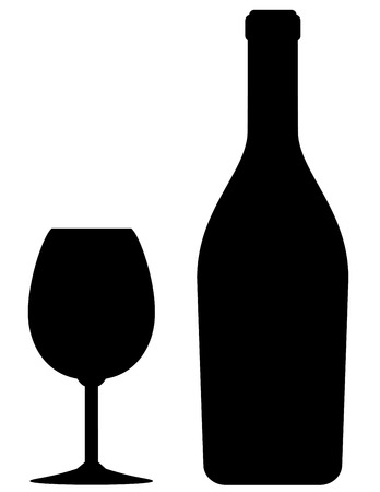 isolated black wine bottle and glass icon on white background