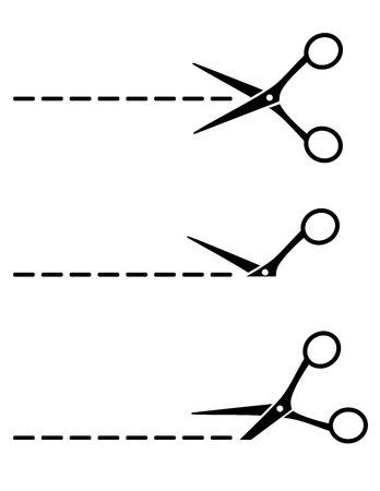 scissors cutting: set of scissors icon with cut lines on white background