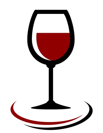 whisky bottle: red wine glass icon with decorative element on white background Illustration