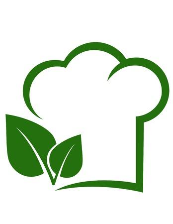 logos restaurantes: signo vegetariano con gorro de cocinero, hoja verde y el lugar de texto