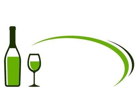 화이트 와인 병, 유리 아이콘 및 장식 요소와 레스토랑 배경