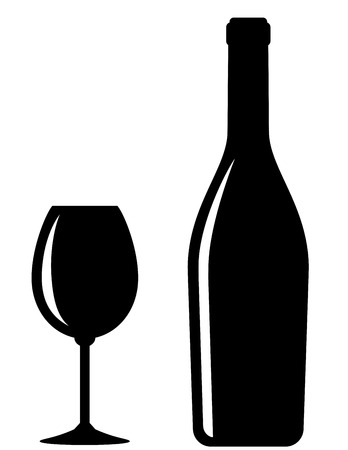 glossy black wine bottle and glass on white background