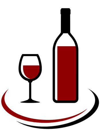 bottle and glass of red wine with decorative line Illustration