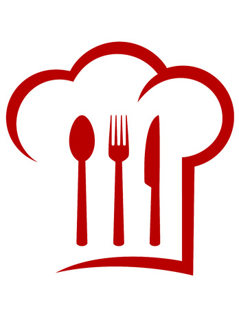 red icon with chef hat and fork, spoon, knife