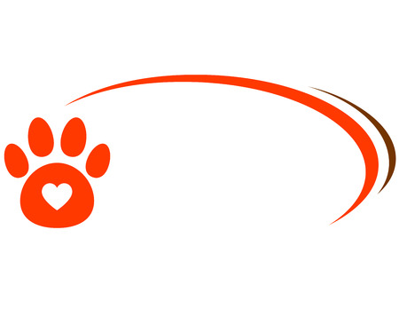 veterinarian background with paw, heart and decorative line Ilustracja
