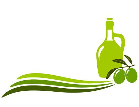 botella de aceite de oliva: de fondo con olas, botella de aceite de oliva, rama y el lugar de texto