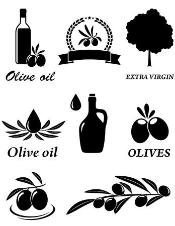 rama de olivo: conjunto de iconos aislados de aceite de oliva en el fondo blanco