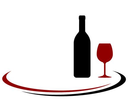 red wine bottle: botella de vino tinto y el fondo de cristal con elemento decorativo Vectores