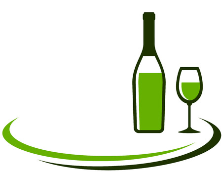 wine and dine: background with white wine bottle and glass and place for text