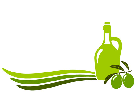 foglie ulivo: sfondo con bottiglia di olio di oliva e olive branch