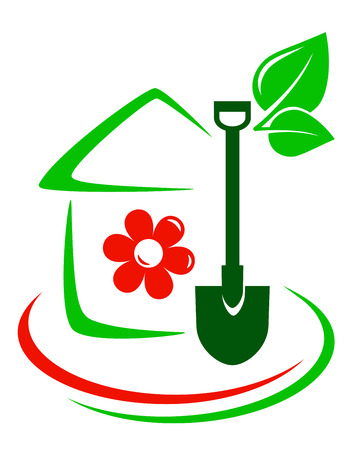 green garden icon with house, flower, shovel and decorative line
