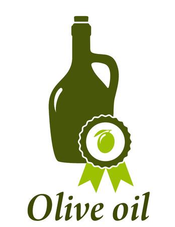 botella de aceite de oliva: botella de aceite de oliva con el emblema de primera calidad Vectores