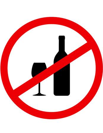 alcool: rouge alcool rond signe stop avec une bouteille et le verre