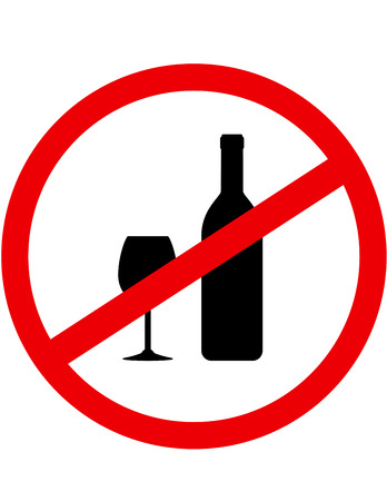 alcohol abuse: round red sign stop alcohol with bottle and glass