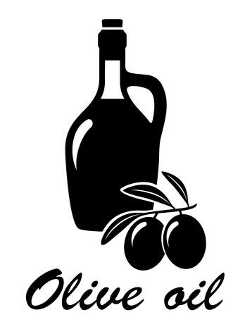 aceite de cocina: aceitunas rama de olivo negro con botella de aceite silueta