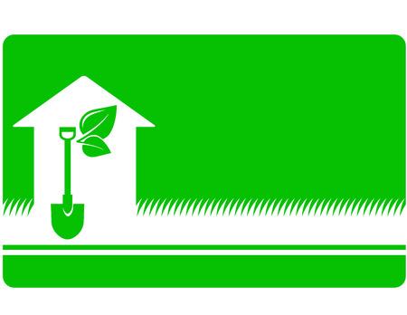 ajardinar la tarjeta de visita verde con pala, hoja y el icono de casa