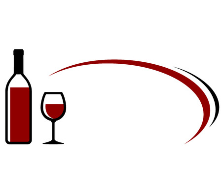 dine: background with red wine bottle, glass icon and decorative elements