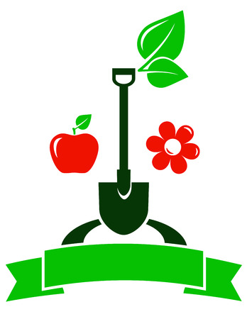 home gardening: garden sign with red fruit apple and flower icon Illustration