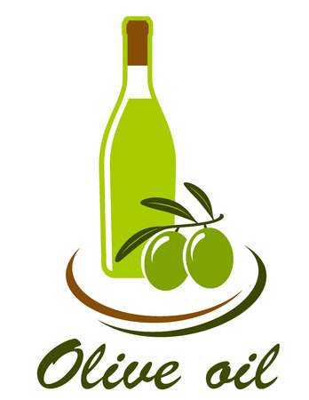 cooking oil: bottle with olive oil and olive branch on white background