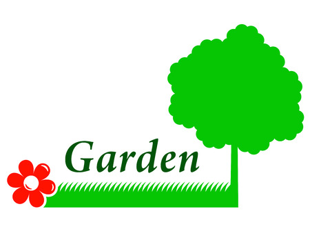 tree grass: garden background with tree silhouette, grass and red flower Illustration