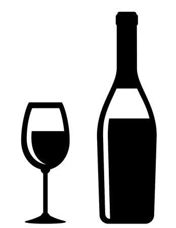 champagne bottle and glass icon on white background