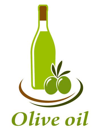 botella de aceite de oliva: botella de aceite de oliva en el fondo blanco y aceitunas